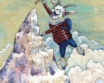 "Mountaineering Goat Holiday greeting card, 4"" x 5.5"" folded Christmas card, Mountain Goat illustration, climbing art with mountain peak"