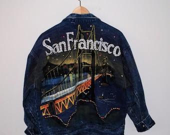 1980s vintage bedazzled hand painted SanFrancisco denim jacket destination jean jacket