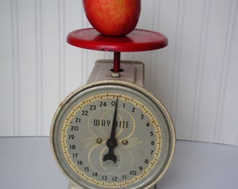 Vintage Farmhouse Rustic Red Kitchen Scale, Primitive and Shabby