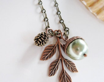 Leaf Necklace, Acorn Necklace, Botanical Necklace, Pearl, Pinecone Necklace, Antique Brass, Vintage Style Necklace, Gardendiva