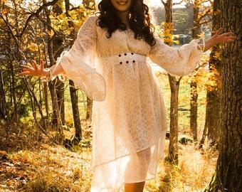 EMPRESS BOHEMIAN DRESS - Lace Hippie Boho Wedding Bride Romantic Lagenlook Mori Shabby chic Plus size Gypsy Ethnic - Off white Cream