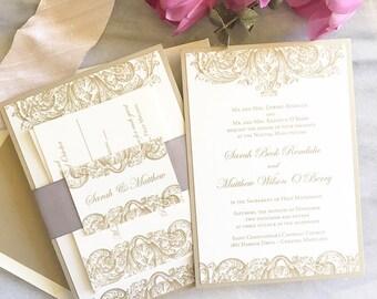 Vintage Wedding Invite - Gold Art Deco Wedding Invitation - Thermography - Sample