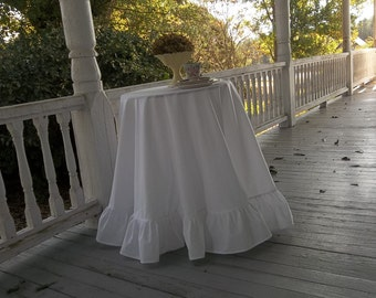 """90"""" Ruffled Tablecloth Floor Length Cotton Tablecloth Custom Sizes Fabrics Bed Side Tablecloth Sweetheart Table Cloth Wedding Decorations"""