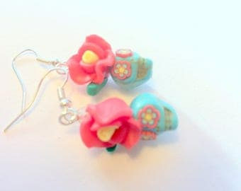 Sugar Skull Earrings Turquoise and Red Day of the Dead Earrings