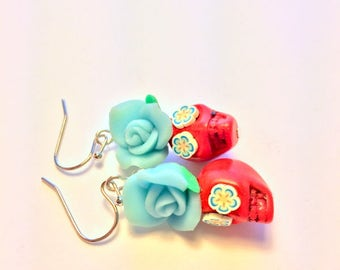 Sugar Skull Earrings Red and Turquoise Day of the Dead Skull and Rose Earrings