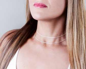 Choker Necklace, Sterling Silver Choker Chain Necklace, Silver Choker, Minimal Choker, Thin Necklace, Delicate Collar Necklace, Dainty Chain