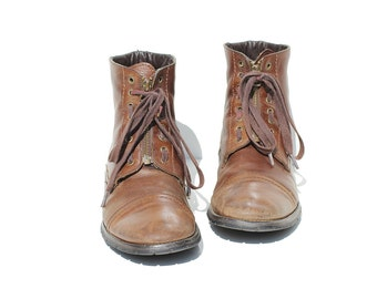 Vintage Men's brown Leather Front Zip Ankle Boots / size 9.5