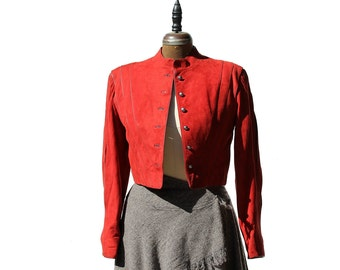 Red Swede & Leather Crop Jacket