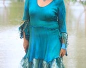 Emanate Fairy Priestess dress with in soft rayon knit created by Wunjo Crow had dyed in Teal/jade