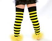 Black & Yellow Striped ruffle tutu leg warmers, Bee Tutu Leggings, Perfect for your Birthday party, photo prop, costume