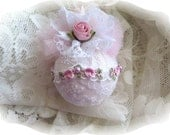 Shabby Chic Pink  Roses and White  Doily Ball Christmas Ornaments Vintage Chic Shabby Shabby Chic Home Decor Christmas