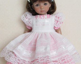 """For 13"""" Effner Little Darling, Pink Gingham Dress with Voile Pinafore and Floral Headband"""