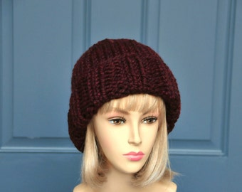 Burgundy Knit Beanie Hat, Womens Beanie, Mens Beanie, Warm Winter Lambs Wool Blend Beanie, Chunky Knit Beanie Hat, Ski Beanie, Claret