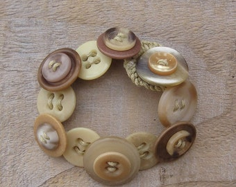 Button Bracelet - Sandy Neutral Colours Cord Bracelet, One of a Kind