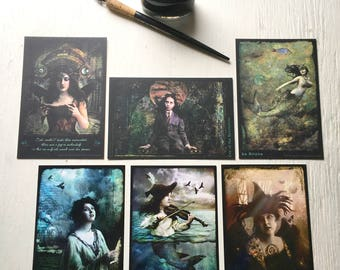 Set of 6 MIXED POSTCARDS - Get all the newest color HaggisVitae postcards in one set 4 x 6 inches fantasy, women, warriors of light