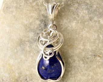 Lapis Necklace - Lapis Lazuli Necklace - Lapis Lazuli - Lapis Jewelry -  Lapis Pendant - Something Blue - Blue Gemstone - Wire Wrapped