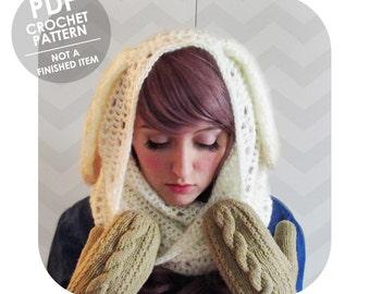 crochet pattern - bunny ears mohair cowl hood - hood cowl - bunny ears - animal hood - animal cowl - bunny hood - winter cowl - mori girl