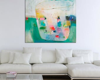 Large abstract art, original painting, large wall art, turquoise, modern art, interior,  40 x 40, wall hanging, hapiness art, peaceful