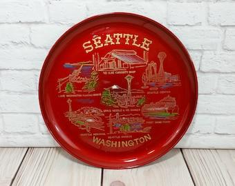 Vintage Round Melamine Seattle Washington Souvenir Plate