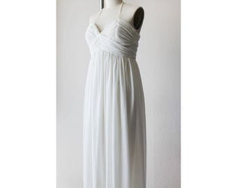 1970s Ivory Sheer Halter Maxi Dress