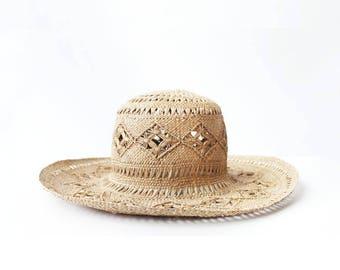 Vintage Patterned Wide Brim Straw Hat