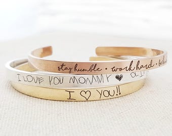 Personalized Cuff - Thin Gold Personalized Cuff Bracelet Handwriting Jewelry - Personalized Jewelry - Handwriting Bracelet