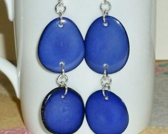 Tagua Earrings - Royal Blue Tagua Nut Slice Hanging Sterling Silver Earrings - Tagua Nut Jewelry - Blue Earrings