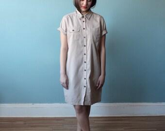 khaki dress | utility dress | short sleeve safari dress | 1990s small - large