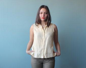 linen sleeveless top | sleeveless button up top vanilla | 1990s small - medium