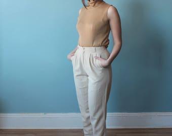 khaki linen pants | linen trousers | 1990s small