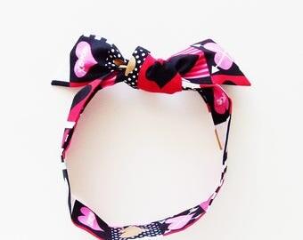 Hearts Head Scarf / Multipurpose Hair Accessory, Neck Tie, Handbag or Walker Adornment, Pet Neckerchief / Rockabilly / Unique Gift Under 25