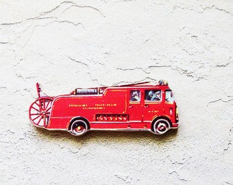 1960s Fire Truck Brooch - Pin / Upcycled Vintage Hand Cut Wood Road Vehicle Puzzle Piece / Red Mid Century Pin / Unique Gift Under 30