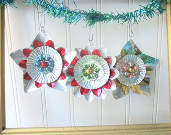 3 Christmas ornaments Upcycled vintage metallic foil reflector mercury glass red blue silver gold star flower shape Retro Mid Century G2