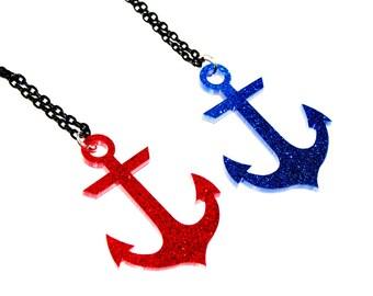 AHOY Anchor Laser Cut Acrylic Necklace