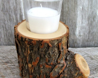 Willow Candle Holder with Glass Votive Candle OOAK