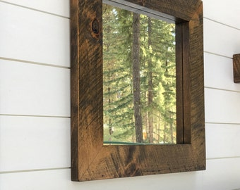 Rustic Mirror, 16x16 Rustic Mirror, Square Mirror, Rustic Wood Mirror