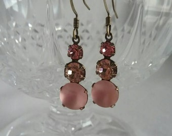 Pink Vintage Glass and Peach Crystal Earrings - Pink Bridesmaid Gifts - Pink Earrings - Summer Weddings - Gifts for Girlfriends - For Wives
