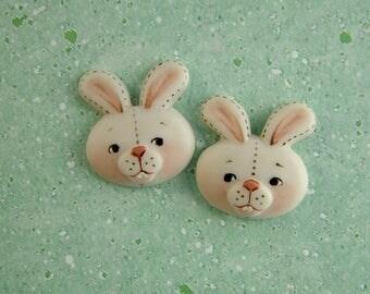 White Bunny Button set of 2