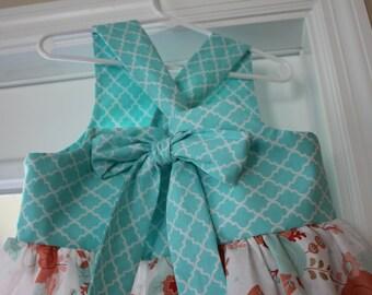 Girls Reverse Knot Dress, HandmadeDress, Floral Print Dress,Spring Easter Dress, Baby Dress, Toddler Dress, Tween Dress,Party Dress