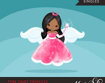 Pink fairy princess clipart. Fairy wings, fairy magic, cute fairy character, princess graphics, princess crown, african american, dark skin