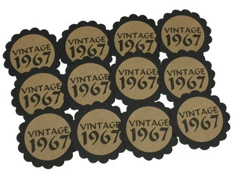 50th Birthday Favor Tags, Vintage 1968, Set of 12, Kraft Brown and Black or Your Choice of Colors