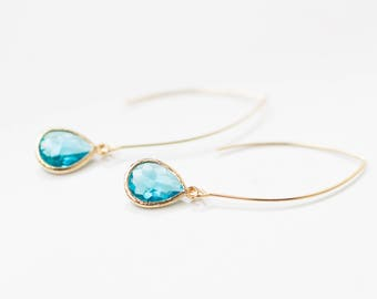 Teardrop aquamarine earrings, gold, drop color, beach-inspired, glass, dangle, charm, jewelry, bridesmaid gift, Handmade in Santa Cruz