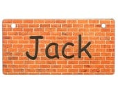 Red Brick Wall Crate Tag Personalized with Your Dog's Name - Free Shipping