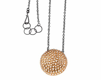 Gold necklace with very large, 22k round, 45mm pendant/ 36 inch oxidized silver chain/ Modern minimalist, big statement necklace NPR-50mm