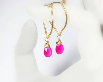 Hot Pink Chalcedony 24K Gold Vermeil Gold Hoop Earrings