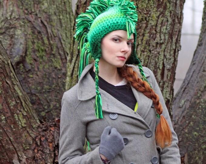 Green Ombre Fade Mohawk Earflap Hat Color Gradient Fade Gift for Men , Women, Children or Teens