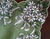 1950s Vintage Nylon Hankie, Painted White Daisy Flower Bouquets on Green