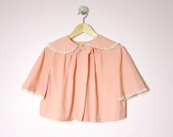 1950s Peach Crepe Bed Jacket M