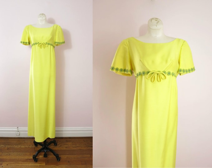 Vintage Yellow Gown | 1960s Mod Yellow Gown | Summer Wedding Dress | 60s Mod | 60s Formal | Empire Waist