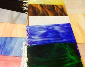 LARGE pieces OPALESCENT Sheets Streaky Colored Scrap Stained Glass. 7 x 9 inch